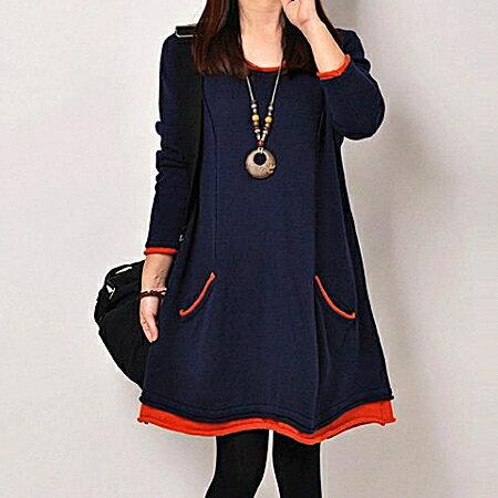 荷葉邊加絨加厚長袖連身裙(2色)