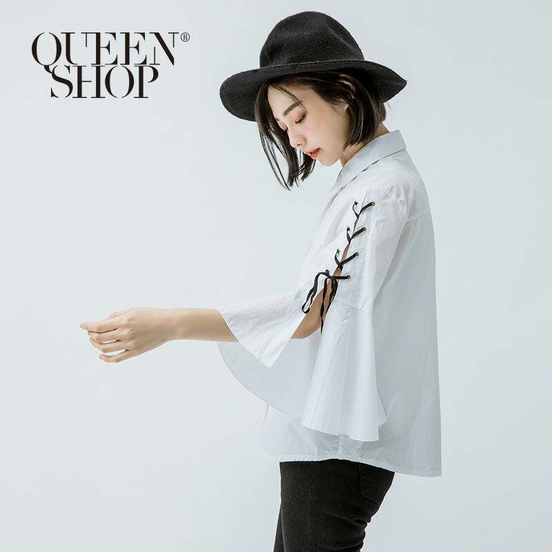 Queen Shop【01022664】下不規則荷葉袖綁帶襯衫*預購*