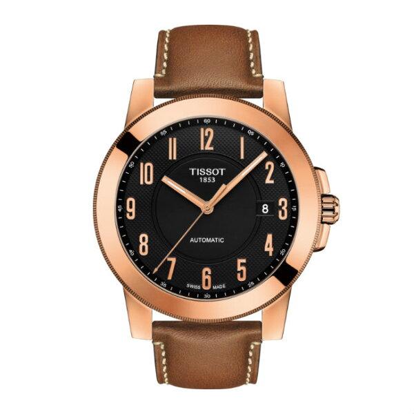 TISSOT天梭錶T0984073605201GENTLEMAN系列經典機械腕錶玫瑰金面44mm
