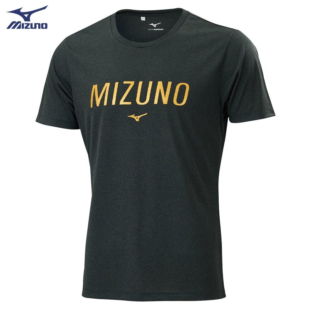 MIZUNO 男裝 上衣 短袖 T恤 合身版型 吸汗快乾 親子 金字 黑【運動世界】32TA001109