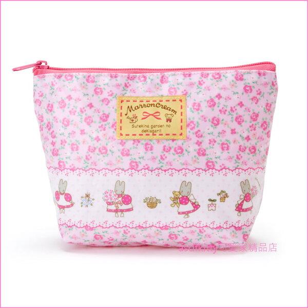 asdfkitty可愛家☆茉莉兔玫瑰花防水化妝包收納包置物包文具包-日本正版商品