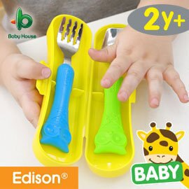 baby house  愛迪生貓頭鷹湯叉盒裝組湯匙+叉子 - 粉『121婦嬰用品館』