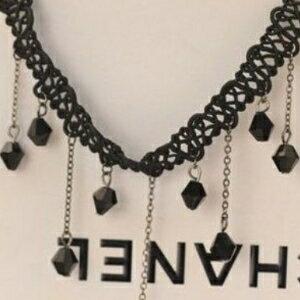 美麗大街【GX428】 短款黑色水晶項飾 不規則流蘇手工編織蕾絲鎖骨項鍊