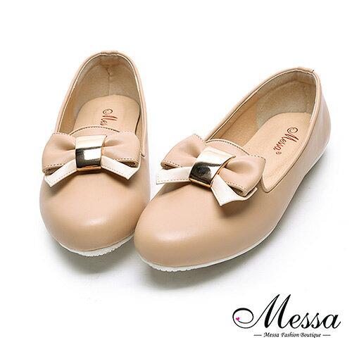 【Messa米莎專櫃女鞋】MIT蝴蝶綁帶女孩內真皮平底包鞋-可可色