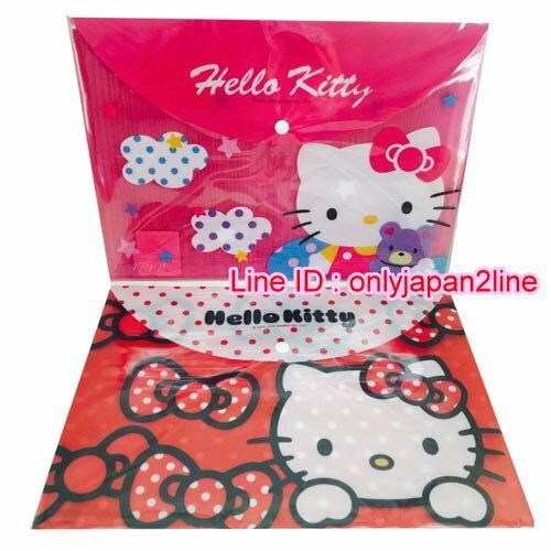 【真愛日本】16101300031 PP扣文件袋-KT紅桃2款  三麗鷗 Hello Kitty 凱蒂貓 文件袋 收納 文具