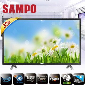 吉盛聯合:聲寶32型低藍光系列LED液晶顯示器+視訊盒32吋電視EM-32AT17D