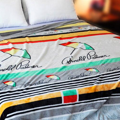 【橘灰條紋】雨傘牌 法蘭絨舒眠保暖毛毯 ◆ HOUXURY台灣製