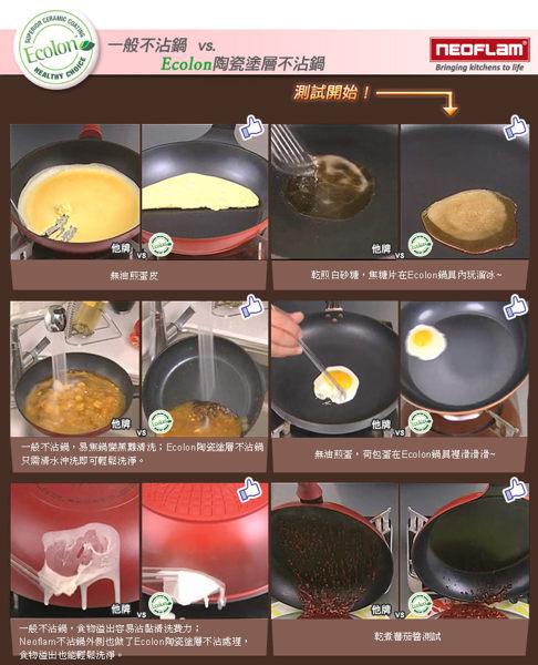 免運費 韓國NEOFLAM Eela系列 36cm陶瓷不沾雙耳炒鍋+玻璃鍋蓋-淺藍色 EK-EL-T36
