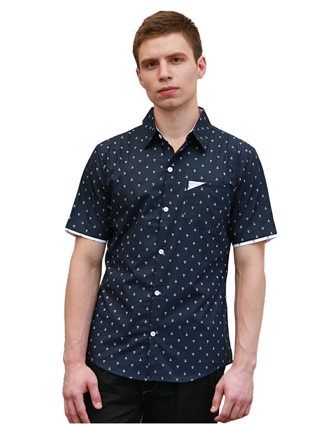 Unique Bargains Men s Point Collar Button Down Short Sleeve Anchor Pattern  Casual Shirt Blue (Size 640bbd6e0