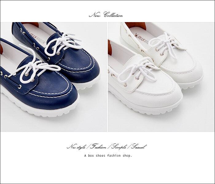 格子舖*【KW8802】MIT台灣製 簡約百搭皮革材質 3CM厚底綁帶休閒鞋 帆船鞋 2色 2