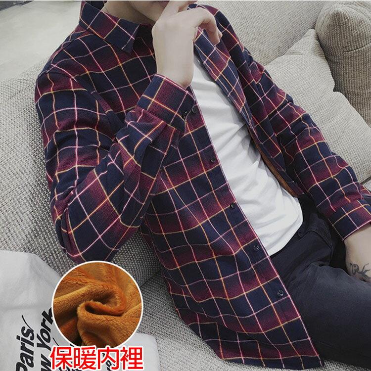 Mao 最新款經典復古格子造型加絨加厚長袖襯衫