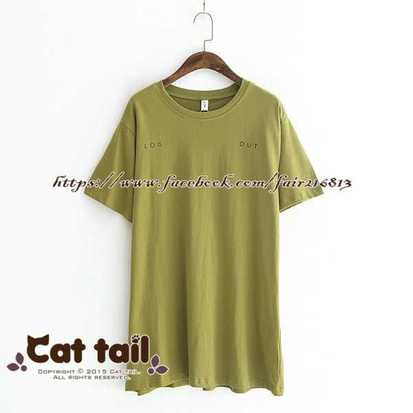《貓尾巴》LZ-03386 學院風簡約字母印花短袖上衣(森林系 日系 棉麻 文青 清新)