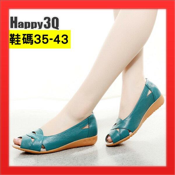 真皮平底涼鞋露腳趾露趾女鞋子媽媽鞋42大尺碼鞋43-白綠黑35-43【AAA4455】
