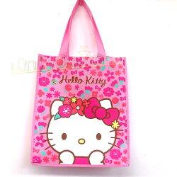【真愛日本】19011200004 環保寬底購物袋-KT花冠 凱蒂貓kitty 美國限定版 環保袋 手提袋 購物袋