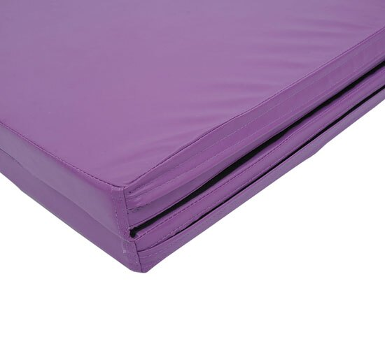 "Soozier 10' x 4' x 2"" PU Leather Folding Gymnastics Tumbling / Martial Arts Mat with Handles - Purple 4"