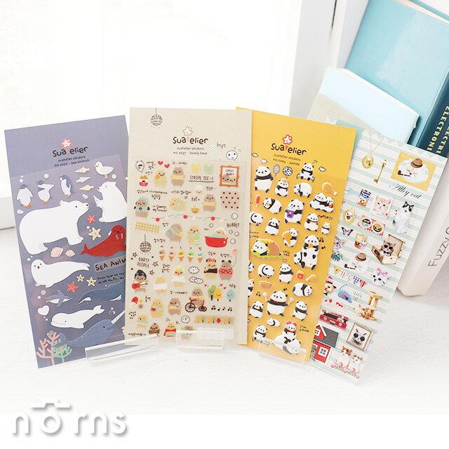 【Suatelier stickers動物系列】Norns 韓國Sonia手作 手帳貼紙文具熊貓 可愛 貓咪 兔子 拍立得照片裝飾貼 日記 - 限時優惠好康折扣