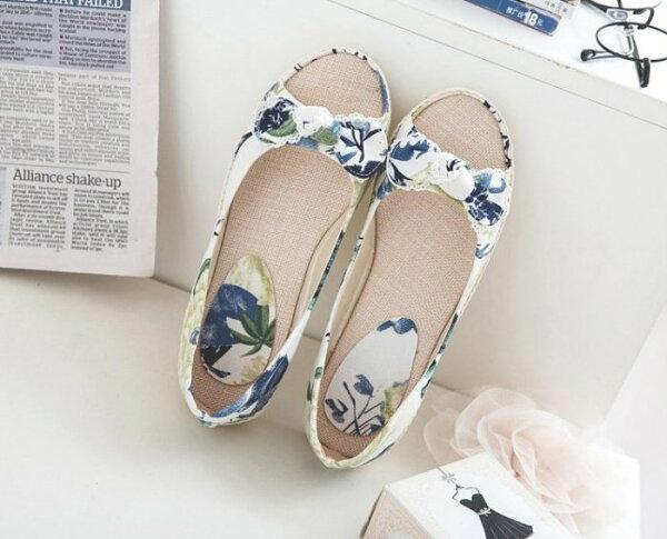 Pyf♥甜美碎花蝴蝶結平底鞋帆布鞋舒適寬楦透氣魚口鞋43大尺碼女鞋