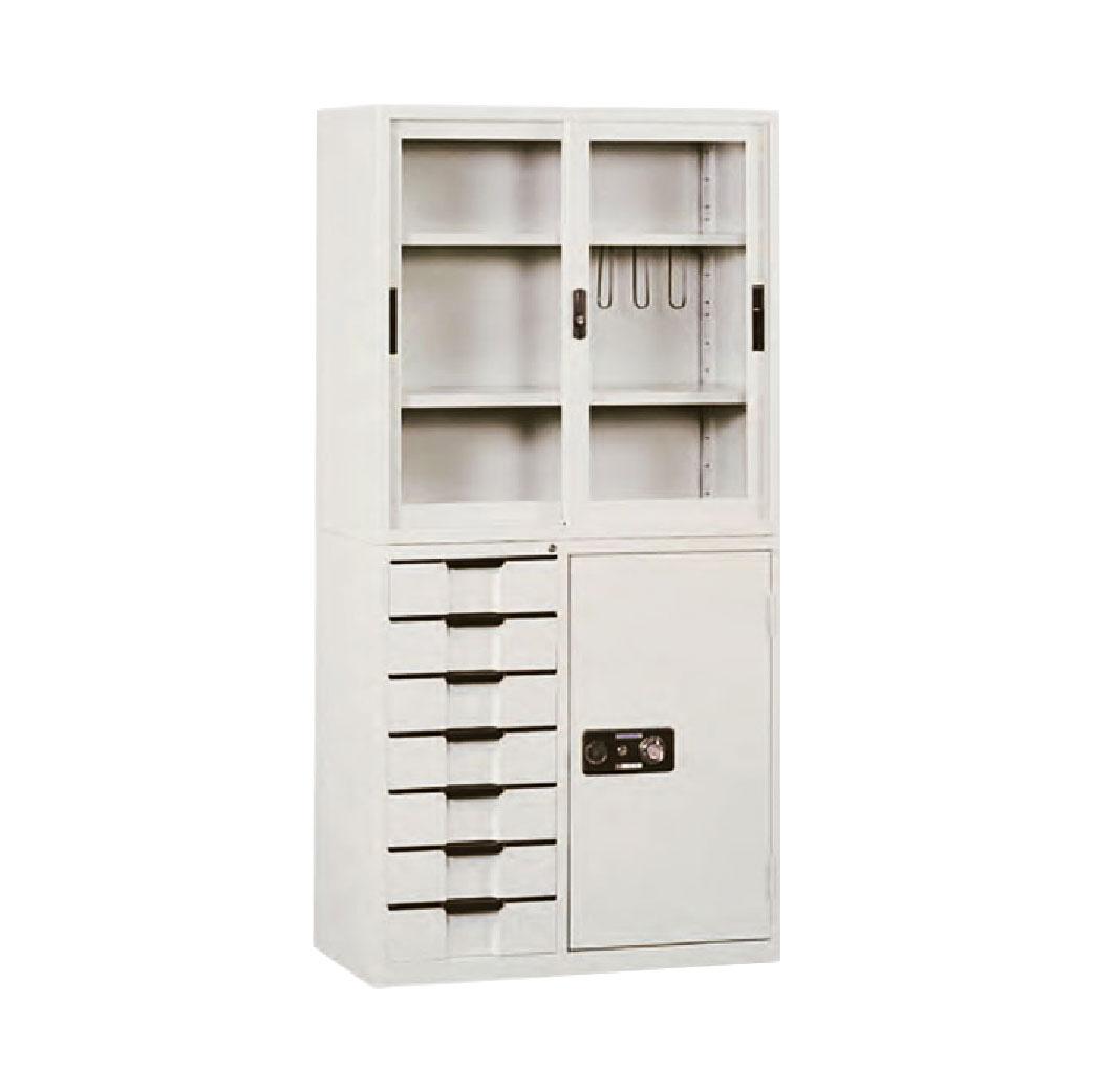 【哇哇蛙】玻璃拉門文件櫃 KG-88+KT-88-7D 拉玻+邊七抽 辦公 學校 收納 文件報表 置物櫃 分類櫃 隔間櫃 鐵櫃 資料櫃