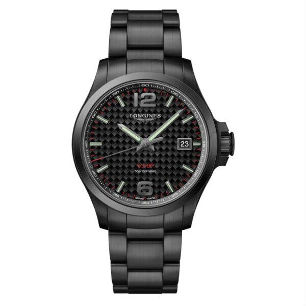 LONGINES浪琴錶L37262666征服者系列VHP超精準石英萬年曆腕錶黑面43mm