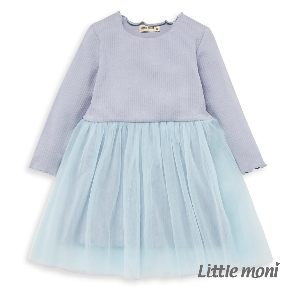 Little moni 荷葉滾邊網紗洋裝-亮天藍 0