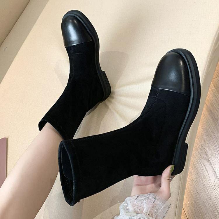 網紅瘦瘦靴平底短筒靴子女2019秋款中筒靴絨面馬丁靴女酷街頭黑色  全館免運