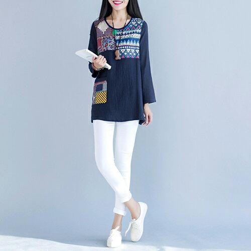 全店65折滿 599 純色棉麻寬鬆版長袖T恤 ^(3色,M^~2XL^) ~ ORead