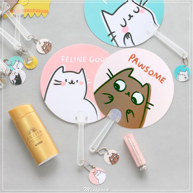 《波卡小姐》夏日清涼扇!四款可愛貓咪造型圓扇 日韓創意喵喵隨身手搖扇子 小吊飾風扇