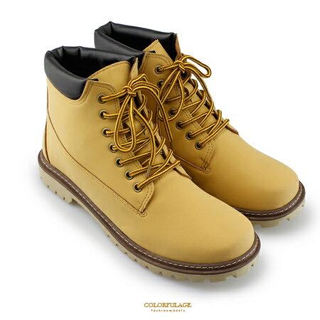 高筒靴 帥氣型男馬汀靴 質感綁帶登山鞋 耐用百搭款 真皮防臭鞋墊 柒彩年代【NR18】MIT台灣製造
