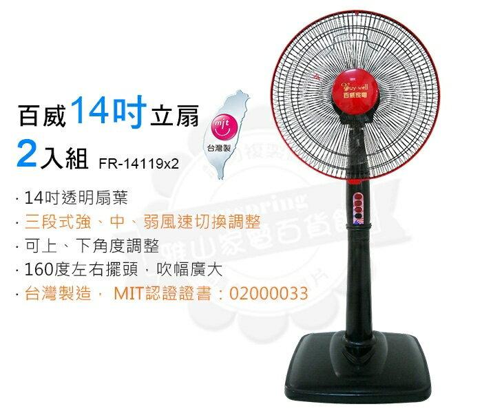 百威14吋立扇2入組-黑紅色(FR-14119*2)