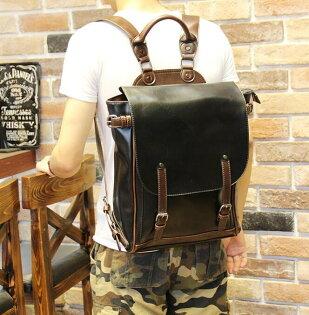 FINDSENSEZ1韓國時尚潮男皮質校園學生包書包後背包雙肩包電腦包