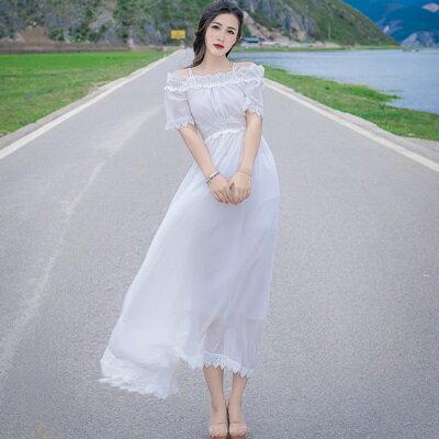 連身裙露肩洋裝-一字領短袖純色收腰女連衣裙2色73pu68【獨家進口】【米蘭精品】