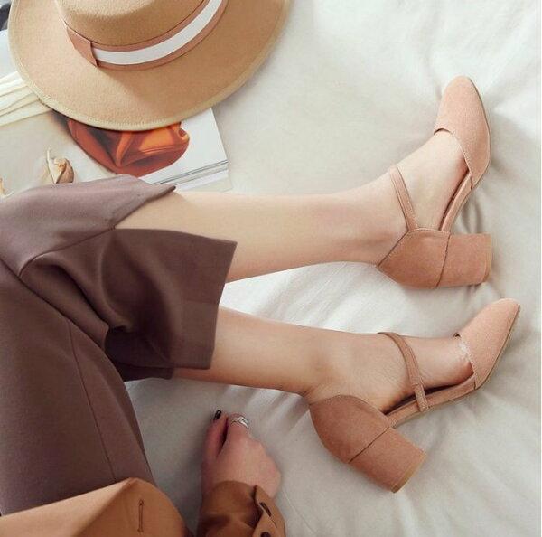 Pyf♥韓版素面方頭低跟鞋絨面鬆緊帶超穩粗跟工作鞋職業鞋加大46大尺碼女鞋