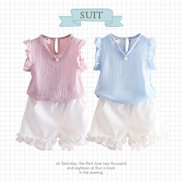 甜美荷葉滾邊V領珍珠裝飾無袖上衣+短褲0515(粉藍)【K12349】