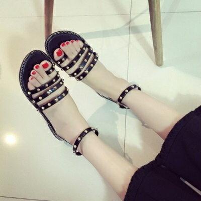 ~平底鞋鉚釘羅馬涼鞋~街頭龐克風 女鞋子3色73ey13~ ~~米蘭 ~