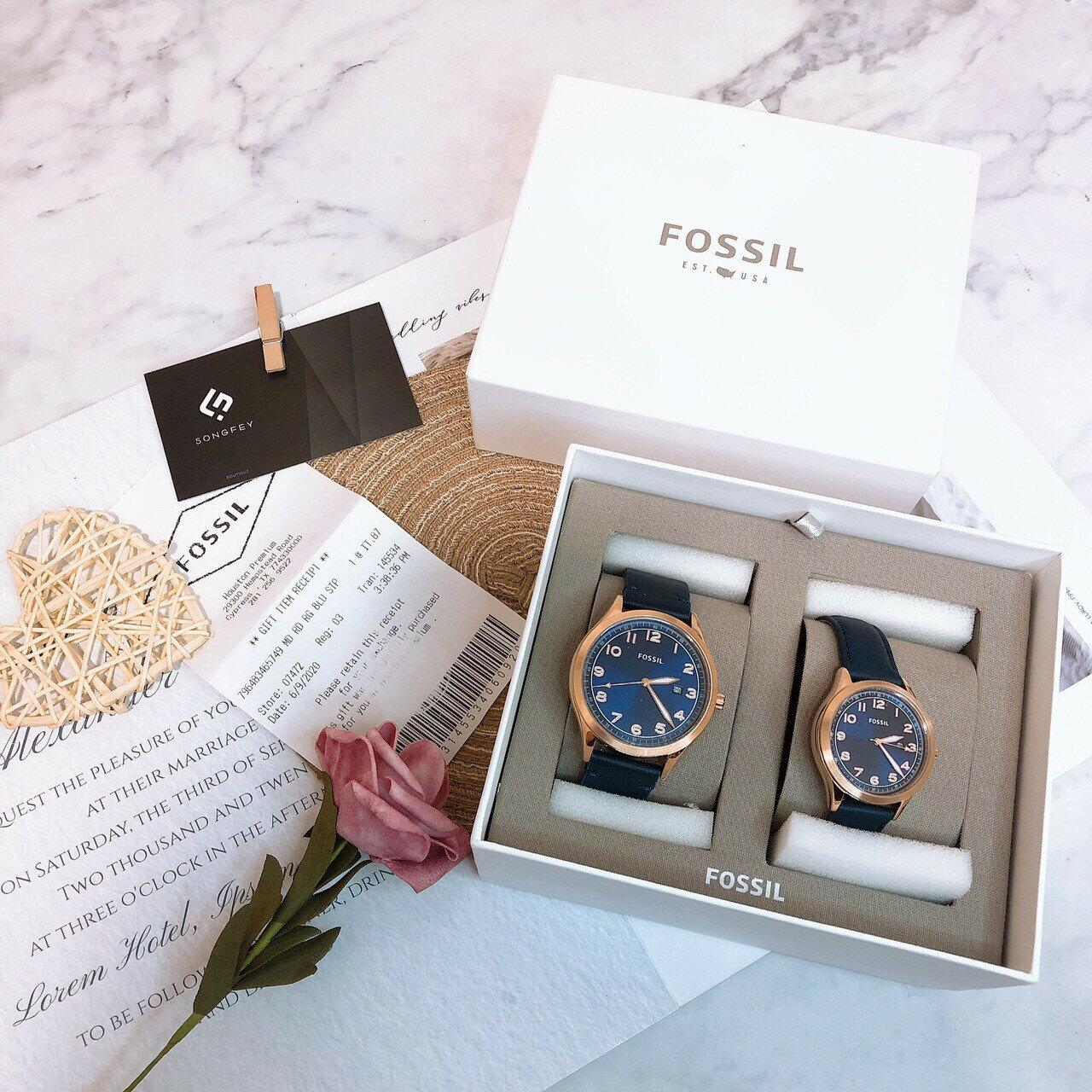 美國代購 台灣現貨 FOSSIL 情侶對錶 BQ2470SET