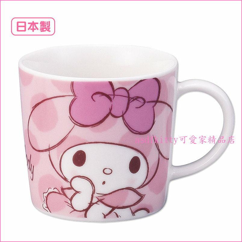asdfkitty可愛家☆日本金正陶器美樂蒂粉水玉陶瓷馬克杯-可微波-日本製
