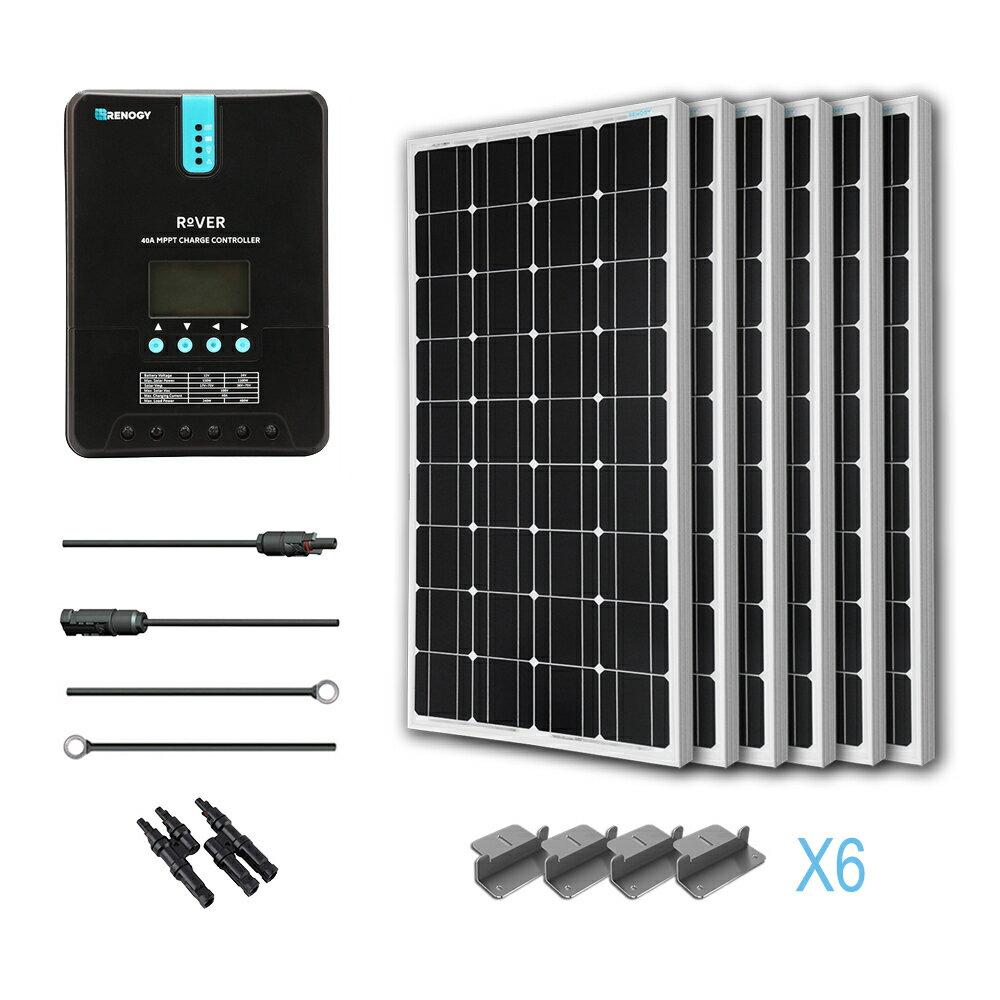 Renogy 600 Watt 12 Volt Monocrystalline Solar Panel kit w/ MPPT Charge Controller 0