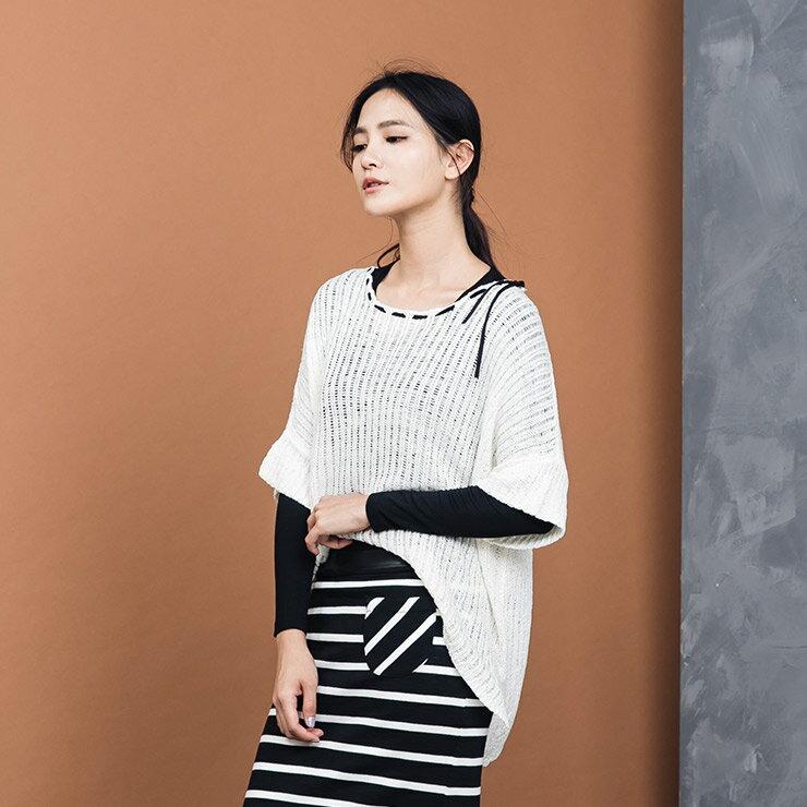 【質衣館】Coco me.氣質帶子紗蝴蝶結針織-米白/黑色/灰色