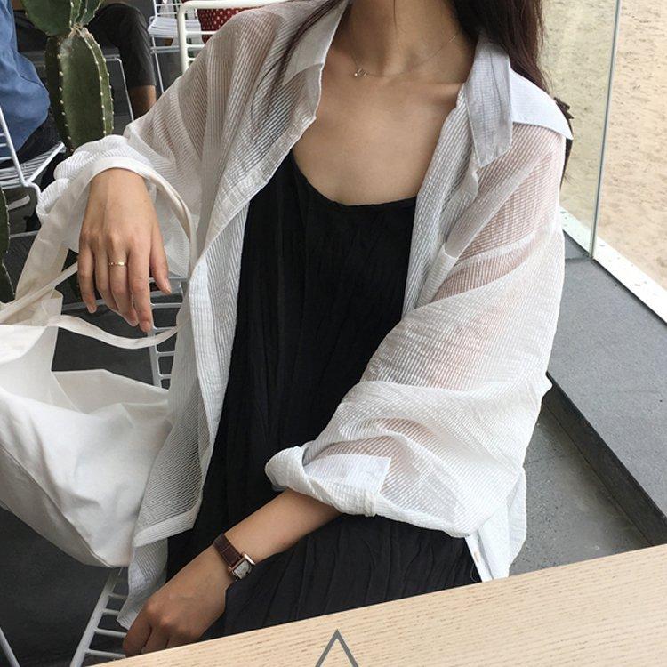 雪紡襯衫-長款雪紡襯衫寬鬆防曬中長款薄款襯衫外套 3