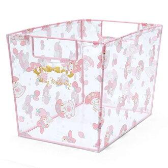 【真愛日本】16060800044透明長型收納箱-MM草莓  三麗鷗家族 Melody 美樂蒂  置物籃 收納箱