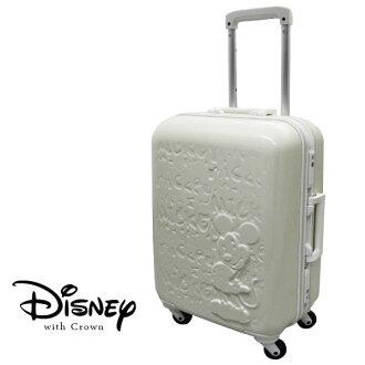 加賀皮件 CROWN Disney 夢想米奇 19.5吋白框亮面浮雕 多色 拉桿旅行箱 行李箱 登機箱 CF5036