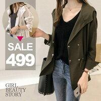 風衣外套推薦到SISI【C8032】現貨百搭休閒開襟中長款腰部抽繩連帽風衣外套就在SiSi Girl推薦風衣外套