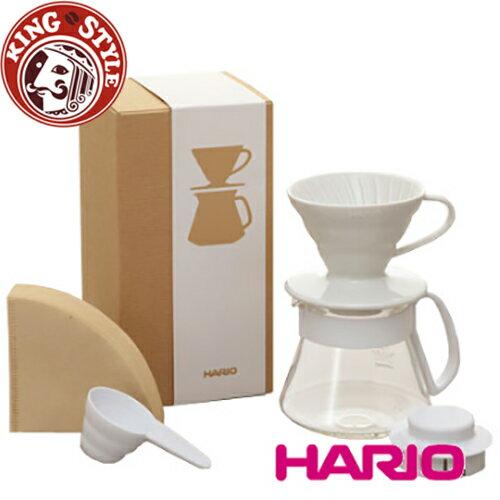 金時代書香咖啡 HARIO V60白色濾杯咖啡壺組 / VDS-3012W