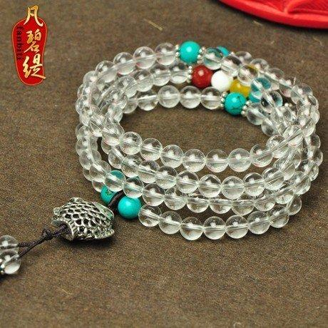 頂級白水晶手鏈白水晶佛珠手鏈108顆隔青金石手鏈