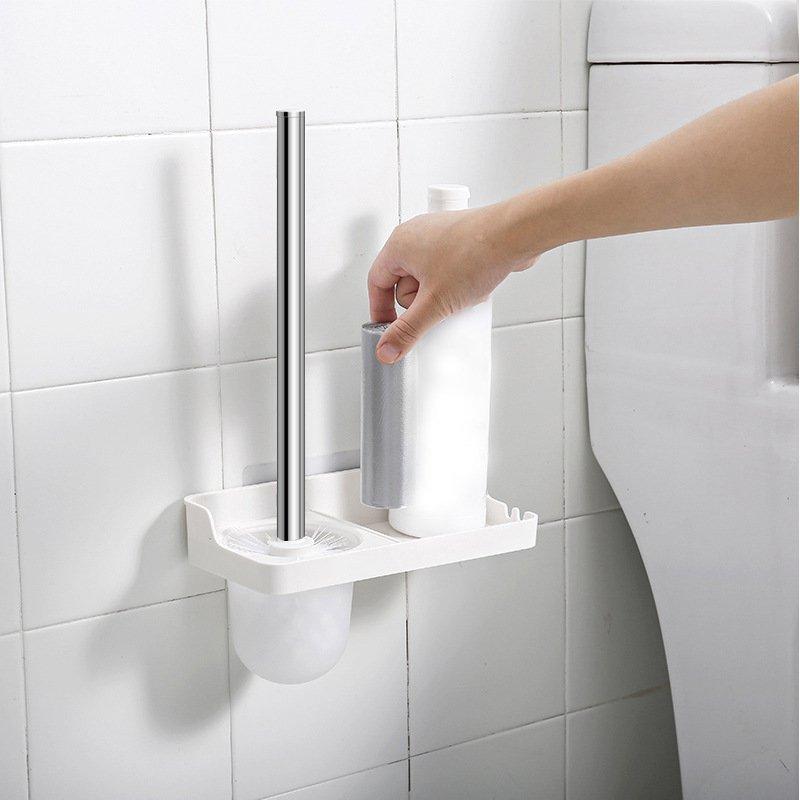 馬桶刷免打孔塑料衛生間浴室清潔刷不銹鋼桿無痕貼馬桶刷廁所刷
