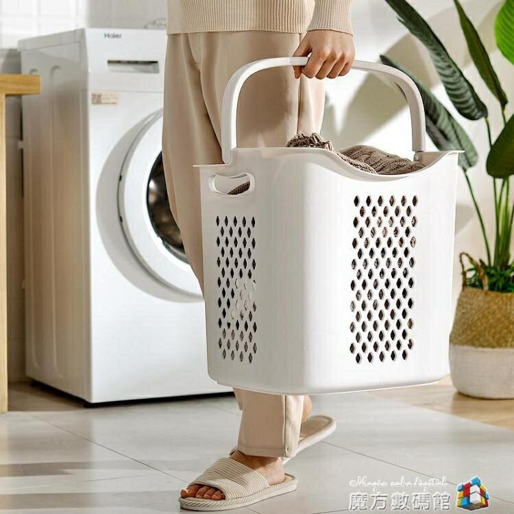 仿藤編日式臟衣籃塑料洗衣籃手提籃浴室臟衣服收納筐收納藍臟衣簍