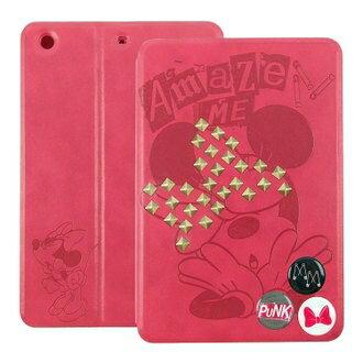 【Disney 】iPad mini2/mini3 Retina 時尚搖滾鉚釘米妮壓紋可立式皮套