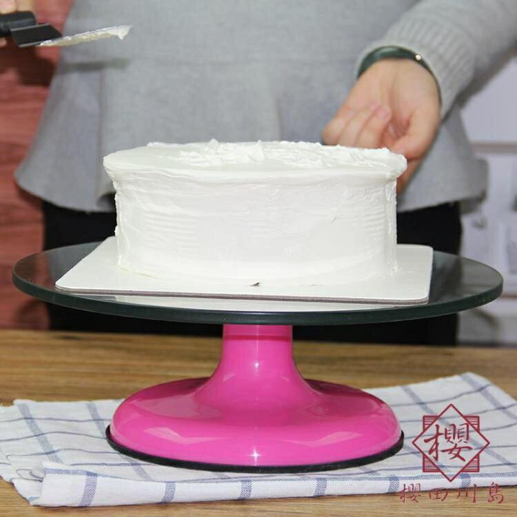 12英寸蛋糕展示架硅膠防滑旋轉盤玻璃裱花臺轉臺