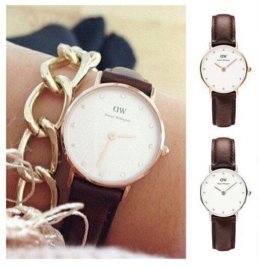 瑞典正品代購 Daniel Wellington 0903DW  玫瑰金鑽  真皮 錶帶 男女錶 手錶腕錶 26MM 1