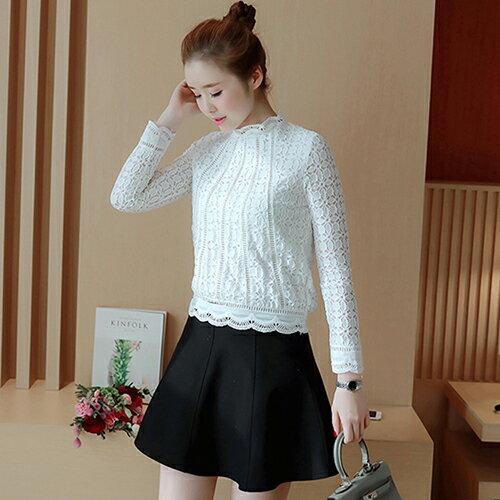 韓版蕾絲長袖打底衫 (白色M~3XL) 【OREAD】 - 限時優惠好康折扣